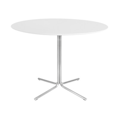 """Kanto GRACE 39.4"""" Round Dining Table with Brushed Stainless Steel Legs (Gloss White)"""