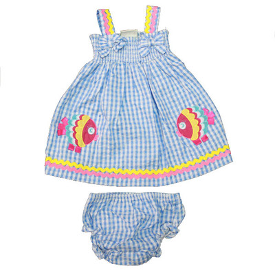 Baby / Infant Blue Checkered Sun Dress with Matching Bloomers