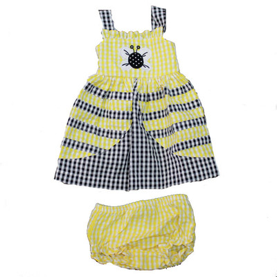 Baby / Infant Yellow & Black Checkered Sun Dress with Matching Bloomers