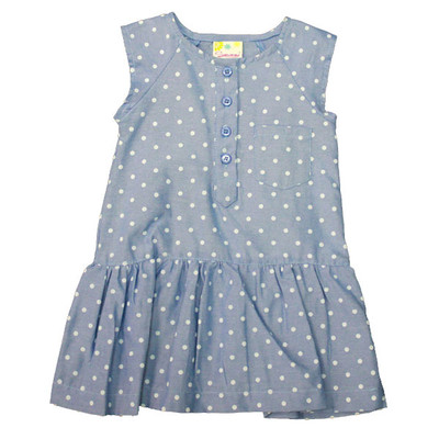 Girl's Blue Sleeveless Dress with White Polka Dots