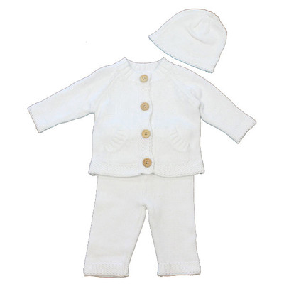 Baby 3 Piece Button Front Knit Sweater, Pants & Hat Set