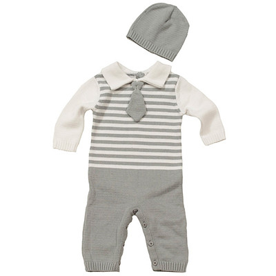 Baby Boy's Knit Romper with Hat - Grey