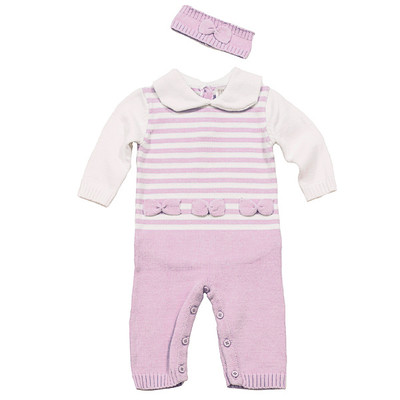 Girl's Knit Romper with Headband - Pink
