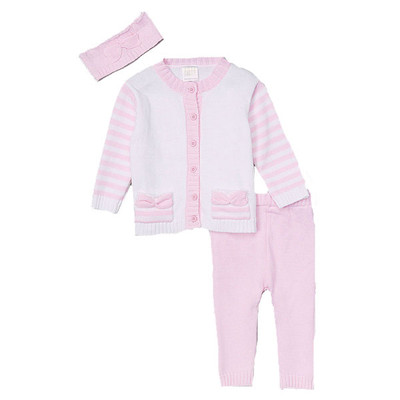 Baby Girl's 3 Piece Button Front Knit Sweater, Pants & Headband Set