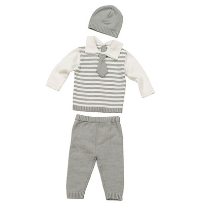 Baby Boy's 3 Piece Knit Sweater with Tie, Pants & Hat Set