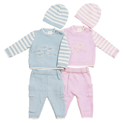 Baby 3 Piece Cable Knit Sweater with Teddybear Detail, Pants & Hat Set