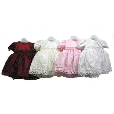 Baby Cap Sleeve Dress with Lace Detail and Matching Bonnet