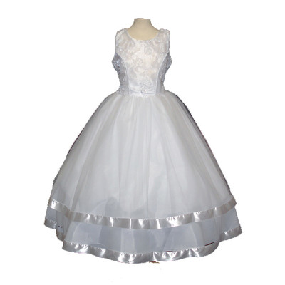 White Sleeveless Communion Dress with Satin Trim Hem