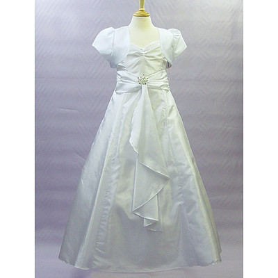 White Satin Communion Dress with Cap Sleeve Bolero Jacket