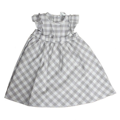 Girl's Check Dress - Grey