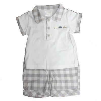 Boy's Check Short Set - Grey