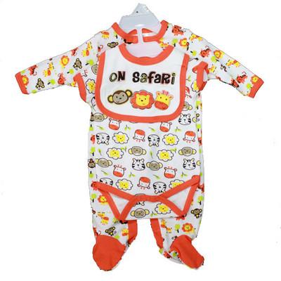 Baby 3 Piece Coverall Set - Orange