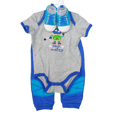 Baby 3 Piece Sneaker Set - Grey