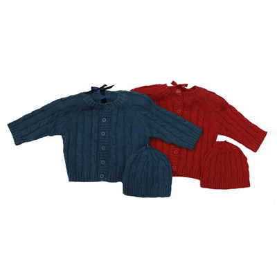 Baby Cable Knit Cardigan with Hat