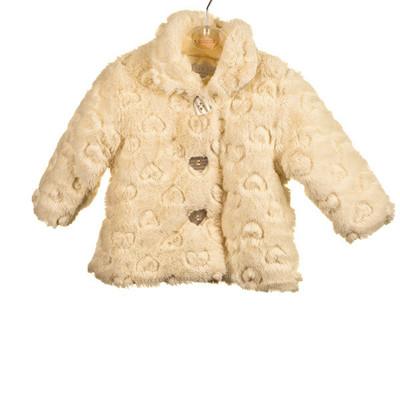 Baby Heart Embossed Fur Jacket