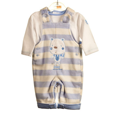 Baby 2 Pc. Microfleece Romper with T-Shirt - Blue