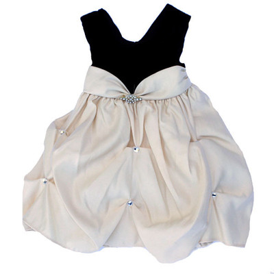 Girl's Black and Ivory Sleeveless Fancy Dress with Loose Ruffled Bottom