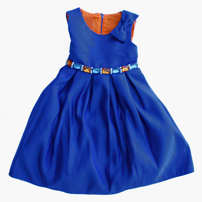 Fancy Blue Sleeveless Dress with Gems at Waist