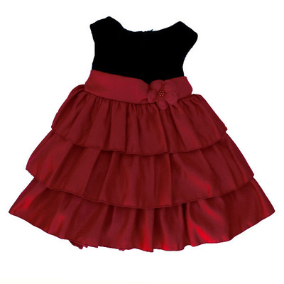 Girl's Black and Red Sleeveless Fancy Dress with 3 Layer Ruffled Bottom