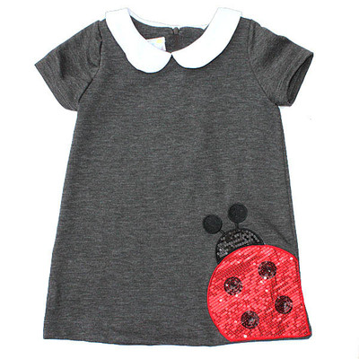Sequinned Lady Bug Ponte Dress - Grey