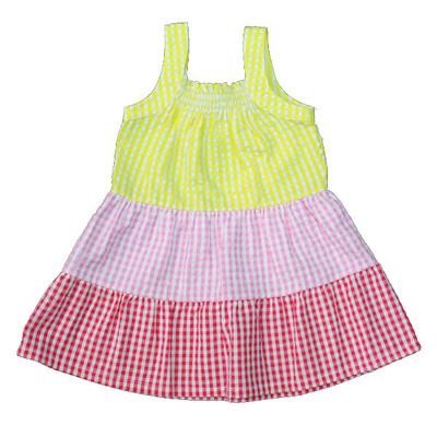 Girl's Yellow / Pink / Red Checkered Sun Dress