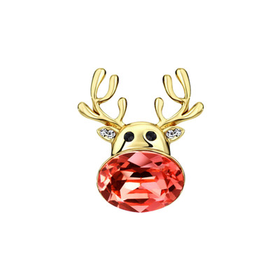 14K Gold Plated Christmas Reindeer Brooch