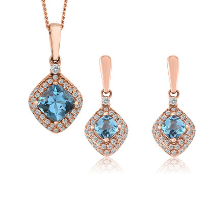 10K Rose Gold Diamond And Topaz Drop Earrings And Pendant Set (0.25 Cttw, G-H Color, I2-I3 Clarity)