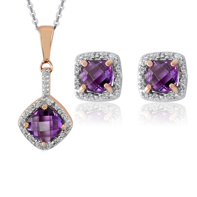 10K Rose And White Gold Diamond And Amethyst Earrings And Pendant Set (0.1 Cttw, G-H Color, I2-I3 Clarity)