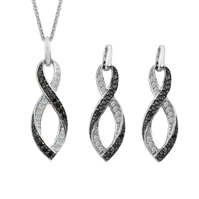 10K White Gold Black And White Diamond Infinity Pendant And Earrings Set (0.4 Cttw, G-H Color, I2-I3 Clarity)