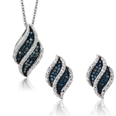 10K White Gold Blue And White Diamond Leaf Pendant And Earrings Set (0.25 Cttw, G-H Color, I2-I3 Clarity)