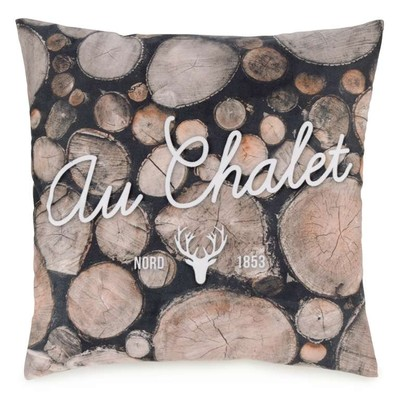 Au Chalet deer realistic log throw pillow cushion with insert