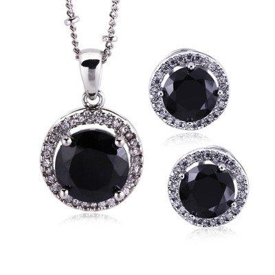 18K Gold Plated Black And White Zircon Jewellery Set