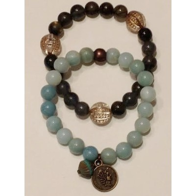 TURQUOISE BEADED BRACELET WITH BRONZE COIN CHARM AND A TURQUOISE/BRONZE BEAD ACCENT COUPLED WITH LABRADORITE BEADED BRACELET WITH 3 GOLD/CRYSTAL ACCENTS.