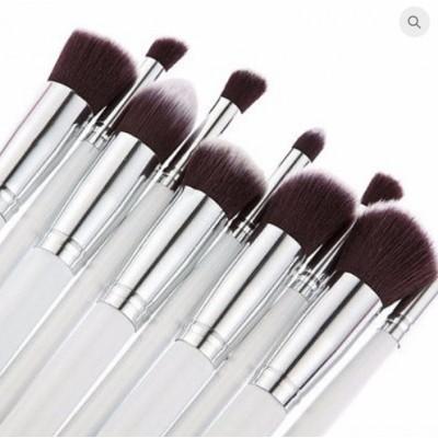 Premium Cosmetic Makeup Brush Set - White & Silver