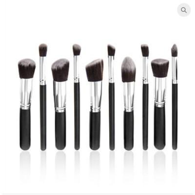 Premium Cosmetic Makeup Brush Set - Black & Silver (10 Pcs)