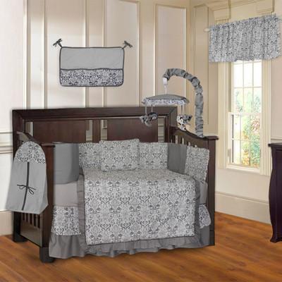 Grey Damask 10 Piece Designer Baby Crib Bedding Set (Including Musical Mobile)