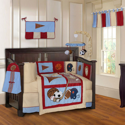 Sports Champion 10 Piece Boys Baby Crib Bedding Set (Including Musical Mobile)
