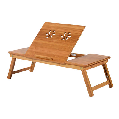 """28.3"""" Folding Bamboo Laptop Stand Adjustable Notebook Table Desk Portable Tray With Drawer"""