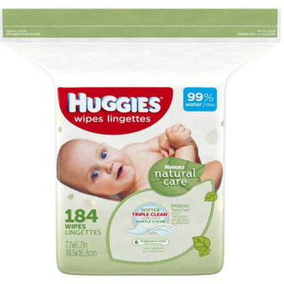Huggies Natural Care Wipes - Unscented 184 Wipes - Unscented - Refill