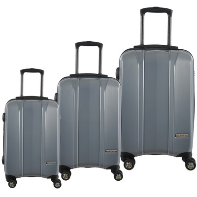 McBRINE 100 % Polycarbonate 3 PC luggage set on double spinner wheels consisting of 28,23 ,19 inch expandable uprights