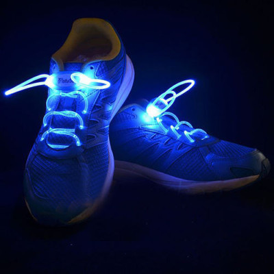 Light-Up LED Flash Waterproof Glow Shoelaces Strings - Blue