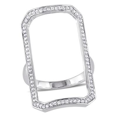Versace 19.69 Abbigliamento Sportivo White Sapphire Geometric Ring in Sterling Silver