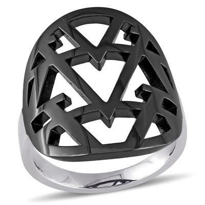 Versace 19.69 Abbigliamento Sportivo Openwork Ring in Sterling Silver with Black Rhodium