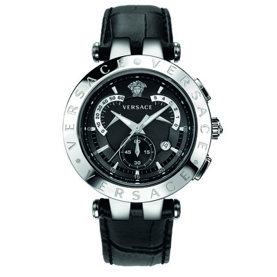 Versace Men's 23C99D008 S009 'V-Race' Stainless Steel Watch with Leather Band