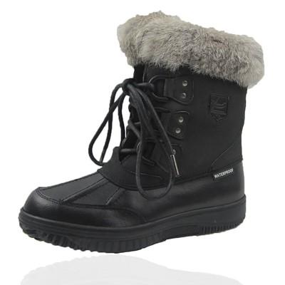 Comfy Moda Women's Winter Boots Glacier Leather & Waterproof #6-11 in Black