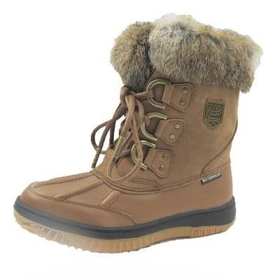 Comfy Moda Women's Winter Boots Glacier Leather & Waterproof #6-11 in Tan