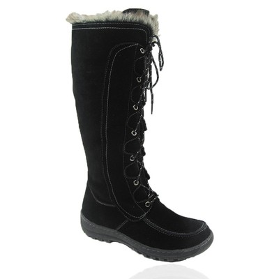 Comfy Moda Women's Winter Boots Warsaw Suede Leather in Black