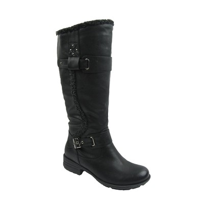 Women Winter Boots Comfy Moda Ally Wool Lining Size 6-12 in Black