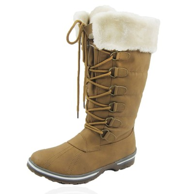 Women Winter Boots Comfy Moda Blue Mountain Size 6-12 in Tan