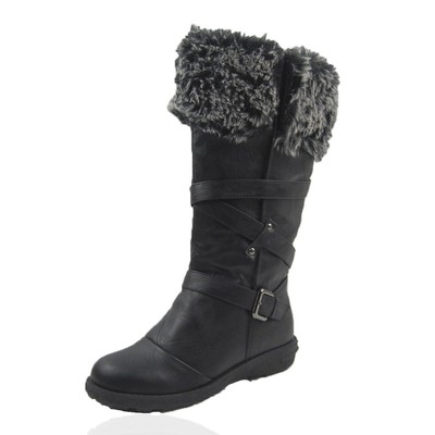Women Winter Boots Comfy Moda Jessica Size 6-12 in Black Regular Calf